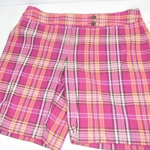 Liz & Co Purple Plaid Shorts New With Tags
